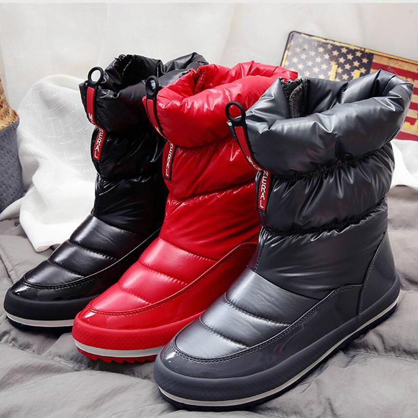 53a9439d8b5 rojo Negro 161 Invierno Mujeres La Zapatillas Bota Zapatos Mujer Rojo Botas  Nieve Abajo Caliente Plantilla X Femenina De Las Para Plataforma Impermeable  ...