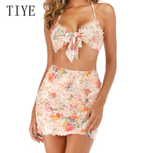 TIYE Bling Sequined 2 Pieces Sets Deep V-neck Bow Top+mini Dress Sexy Sleeveless Open Back Dress Summer Luxury Party Club Femme