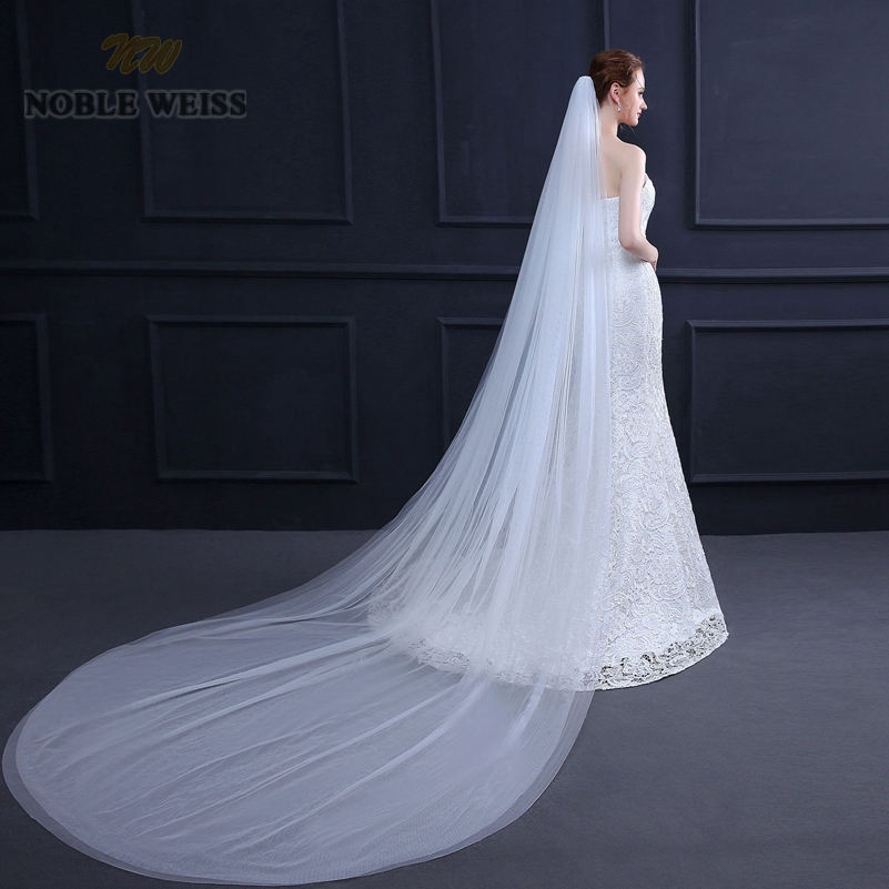 NOBLE WEISS Two Layers 1.5*3 Meters Wedding Veil Cathedral Bridal Veils Customize Wedding Party Veil With Comb