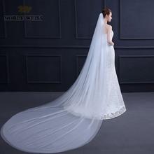 Noble weiss duas camadas 1.5*3 metros véu de casamento catedral véus de noiva personalizar véu de festa de casamento com pente