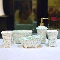 Мрамор зерна Керамика 5 шт. комплект Мода Туалет мыть посуду набор для ванной комнаты принадлежности чашка + держатель зубной щетки + Лосьон