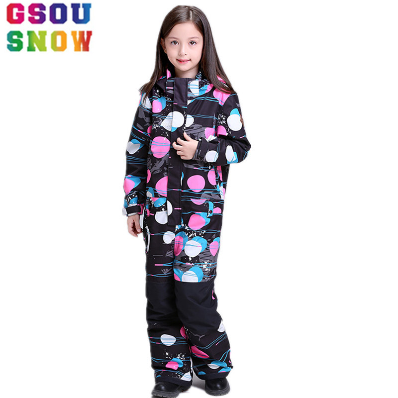 GSOU SNOW outdoor Kid girl Ski Suit Jumpsuit One Piece Snowboarding Waterproof Bib set Ski Rompers Children Overalls coat jacket 2016 winter boys ski suit set children s snowsuit for baby girl snow overalls ntural fur down jackets trousers clothing sets
