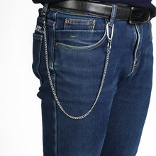 Stainless Steel Belt Waist Chain Punk Hip-hop Trendy Male Pants Chain Men Jeans Punk Silver Metal Trousers Keychain long 45cm(China)