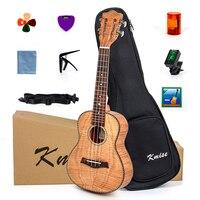 Kmise Tiger Flame Classical Concert Ukulele Starter Kit Solid Okoume 23 Ukelele Hawaii Guitar