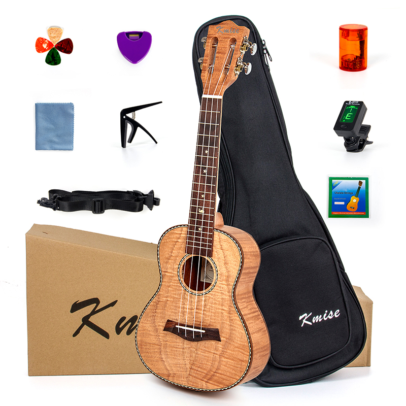 Kmise Concert Ukulele Ukelele Tiger Flame Okoume Starter Kit 23 inch Classical Guitar Head with Gig Bag Tuner Strap String classical metal red lp model electric guitar tiger flame finish guitar body with bigsby kits lefy custom available