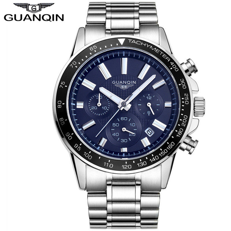 ФОТО 2017 GUANQIN Sports Quartz Mens Wrist Watch Top Brand Luxury Clock Male Full Stainless Steel Luminous Watch Relogio Masculino