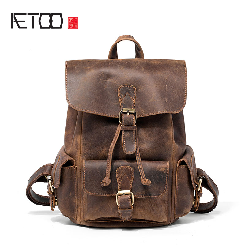 AETOO European and American crazy horse leather shoulder bag retro handmade ladies backpack shoulder diagonal travel college aetoo new front cowhide retro leather shoulder bag men travel backpack europe and the united states crazy horse leather