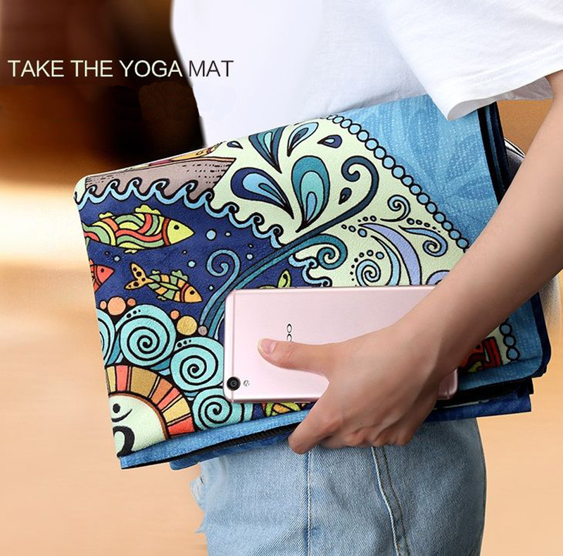 Portable Non Slip Yoga Mat For Fitness Natural Rubber