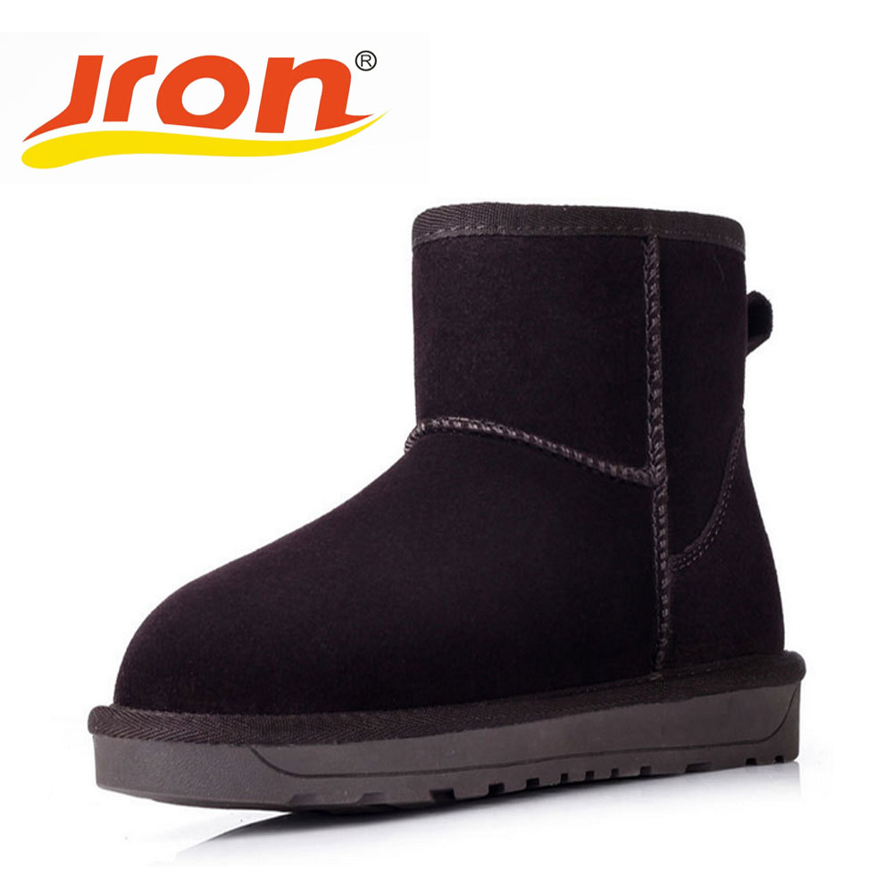 Jron 6 Colors Genuine Leather Mid-Calf Solid Style Woman Plush Snow Boots Rubber Sole Anti-slip Warm Boots For Winter double buckle cross straps mid calf boots