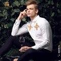 FanZhuan Бесплатная доставка Новая мода повседневная мужчины с длинными рукавами мужская весна воротник молодежи тонкий белая рубашка вышитые рубашки 15208
