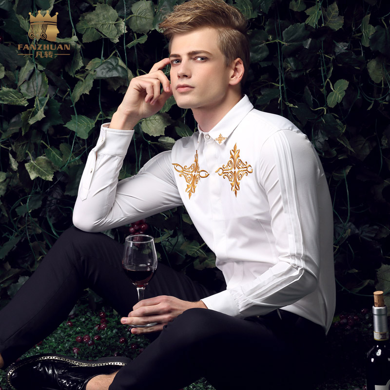 FanZhuan Free shipping New fashion casual male long-sleeve Mens spring collar youth slim white shirt embroidered shirts 15208 ...