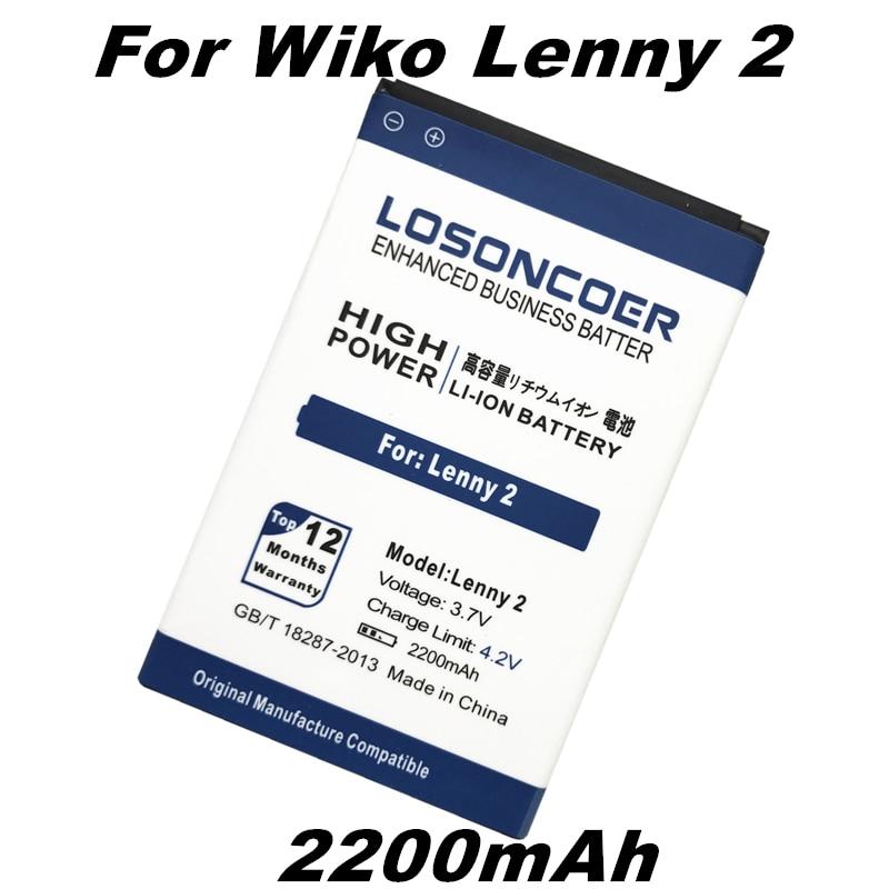 LOSONCOER 2200mAh For Wiko Lenny 2 Battery