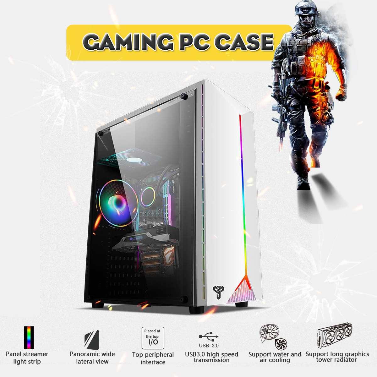 LEORY Gaming Pc boîtier acrylique Transparent panneaux latéraux concours électrique jeu avec RGB ceinture support USB3.0 4 ventilateur de refroidissement - 2