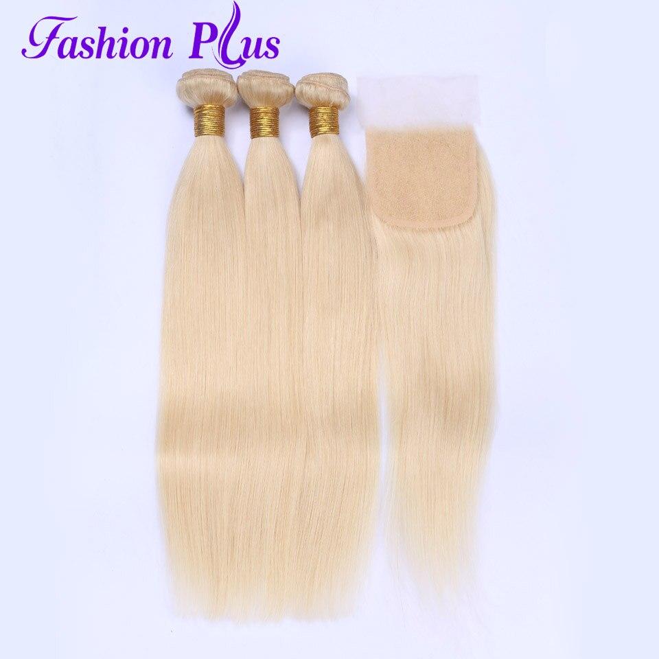 Fashion Plus Human Hair Bundles With Closure Brazilian Hair Weave Bundles Straight 613 Blonde 10-22'' 3Bundles With Lace Closure