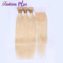 Fashion Plus Human Hair Bundles With Closure Brazilian Hair Weave Bundles Straight Remy Hair 613 Blond Bundles With Lace Closure