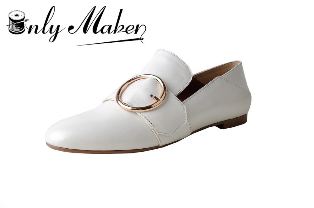 ФОТО Onlymaker Flat Shoes women's Genuine Leather Shoes Spring and Autumn Casual Shoes Working Shoes for Lady