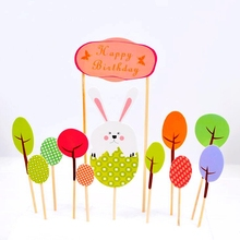 Buy child birthday greetings and get free shipping on aliexpress 1setlot cute rabbit egg tree forest happy birthday greeting card cake toppers party kids m4hsunfo