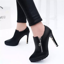 2017 Free Shipping Spring Womens Shoes Leather High Heels Platform Women's Pumps Fashion Black Red Woman Ladies Shoes P14
