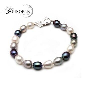 Prawdziwe piękne słodkowodne bransoletka perłowa kobiety, ślub hodowlane charm bransoletka z węzłem biżuteria ze srebra próby 925 prezent urodzinowy dla niej box