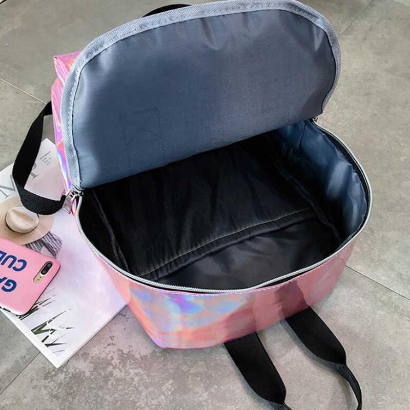 Женские блестки для ногтей рюкзаки для колледжа стильные блестящие кожаные рюкзаки для подростков девочек ПВХ большой емкости рюкзак Mochilas femenina