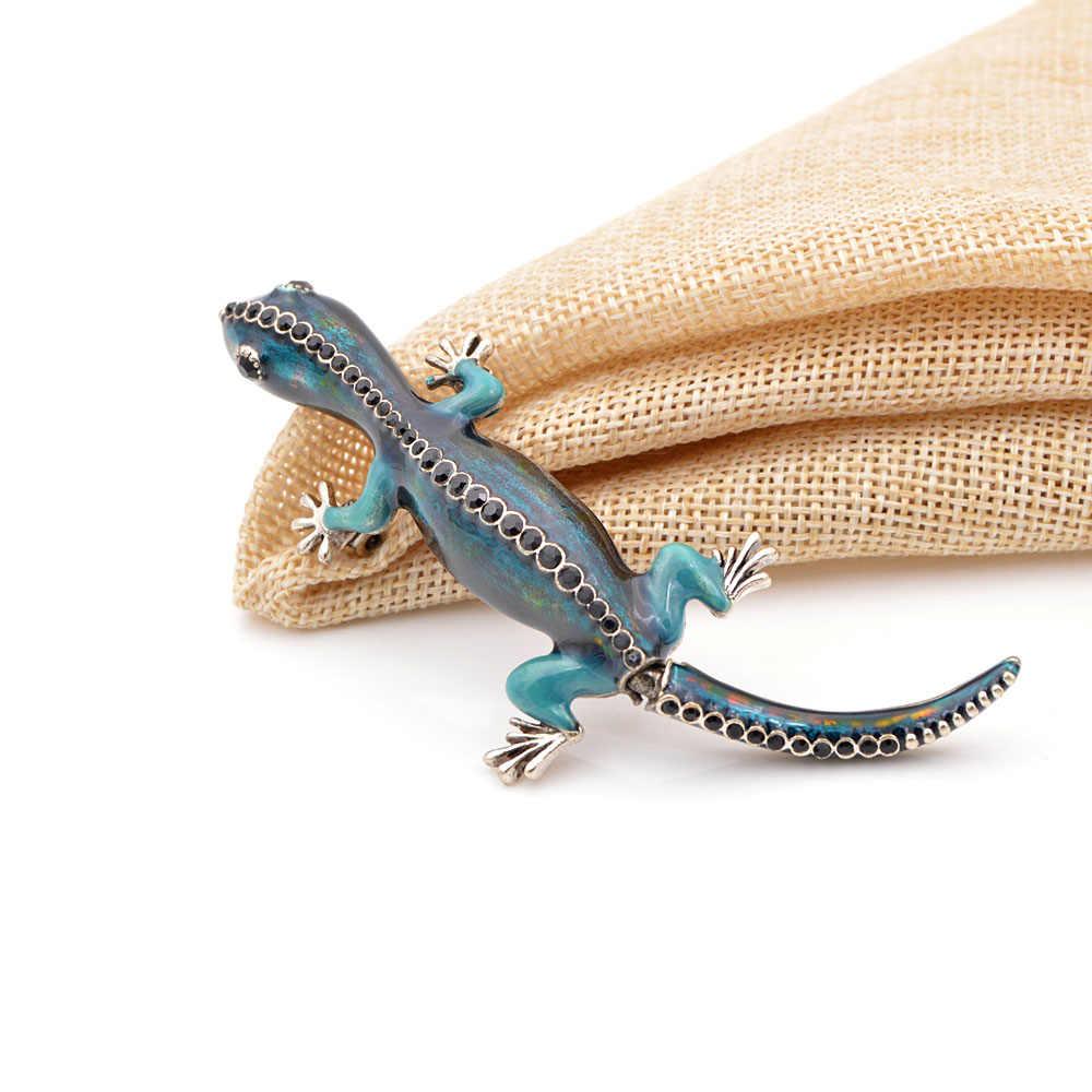 Cindy Xiang Baru Kedatangan Enamel Kadal Bunglon Gecko Bros Warna Biru Hewan Lucu Pria dan Wanita Bros Pin Kualitas Tinggi