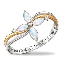 """Новейшая Мода последнее прибытие красивая женщина """"с Божьим, все вещи возможны"""" крест цветок Кристалл палец кольцо ювелирные изделия"""