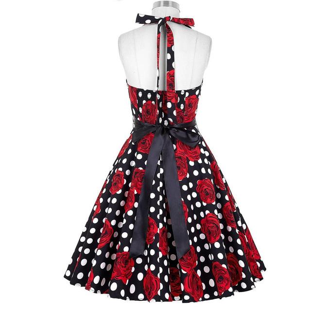 Vintage Rockabilly Dresses Women 50s 60s Party Floral Print Summer Dress Pinup Swing Audrey Hepburn Dress 2017 Vestido Femininos
