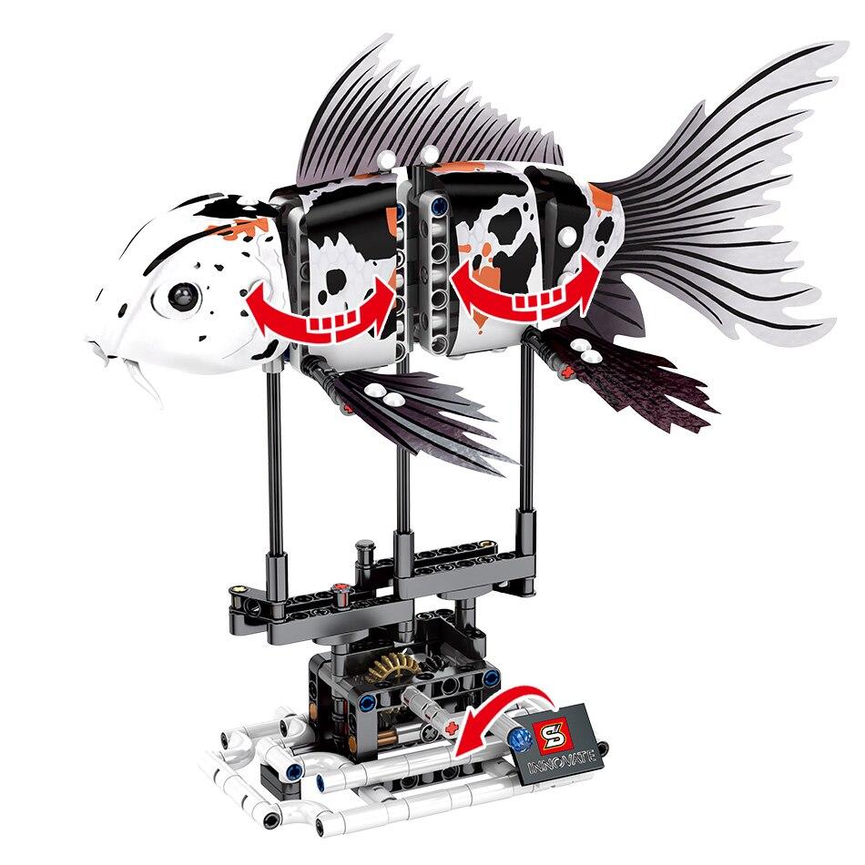 Image 4 - HUIQIBAO 4 Pcs DIY Technic Marine Animal Koi Fish Model Building Blocks Garage Children Educational Bricks Toys GiftBlocks   -