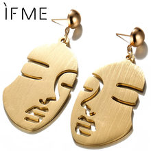IF ME Personality Human Face Stainless Steel Drop Earrings for Women Female Gold Color Hang Dangle Earring Piercing Jewelry Gift(China)
