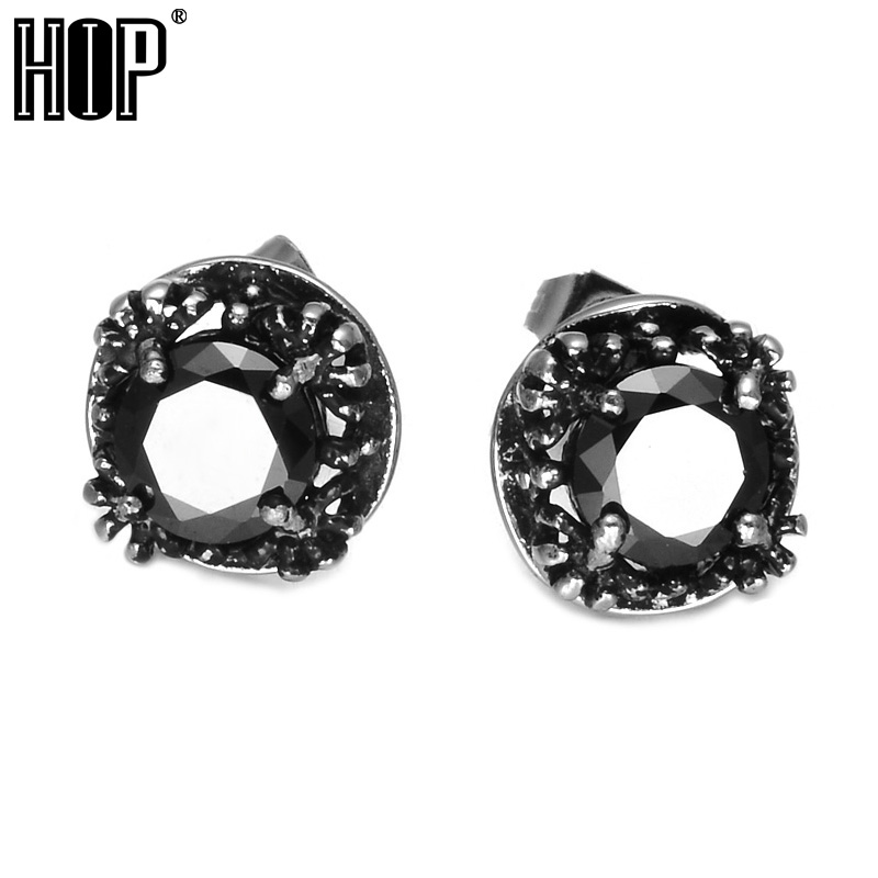 HIP Punk Gothic Black Crystal Stud Earrings Titanium Stainless Steel Square Zirconia Stone Earings For Men Body Jewelry