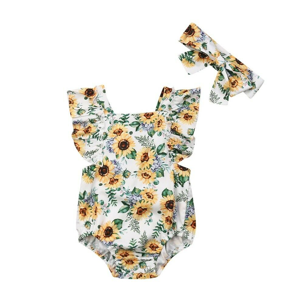 Sunflower Baby Girls   Romper   Jumpsuit Playsuit Infant Kids Sleeveless One-pieces Sunsuit Outfits Summer Clothes