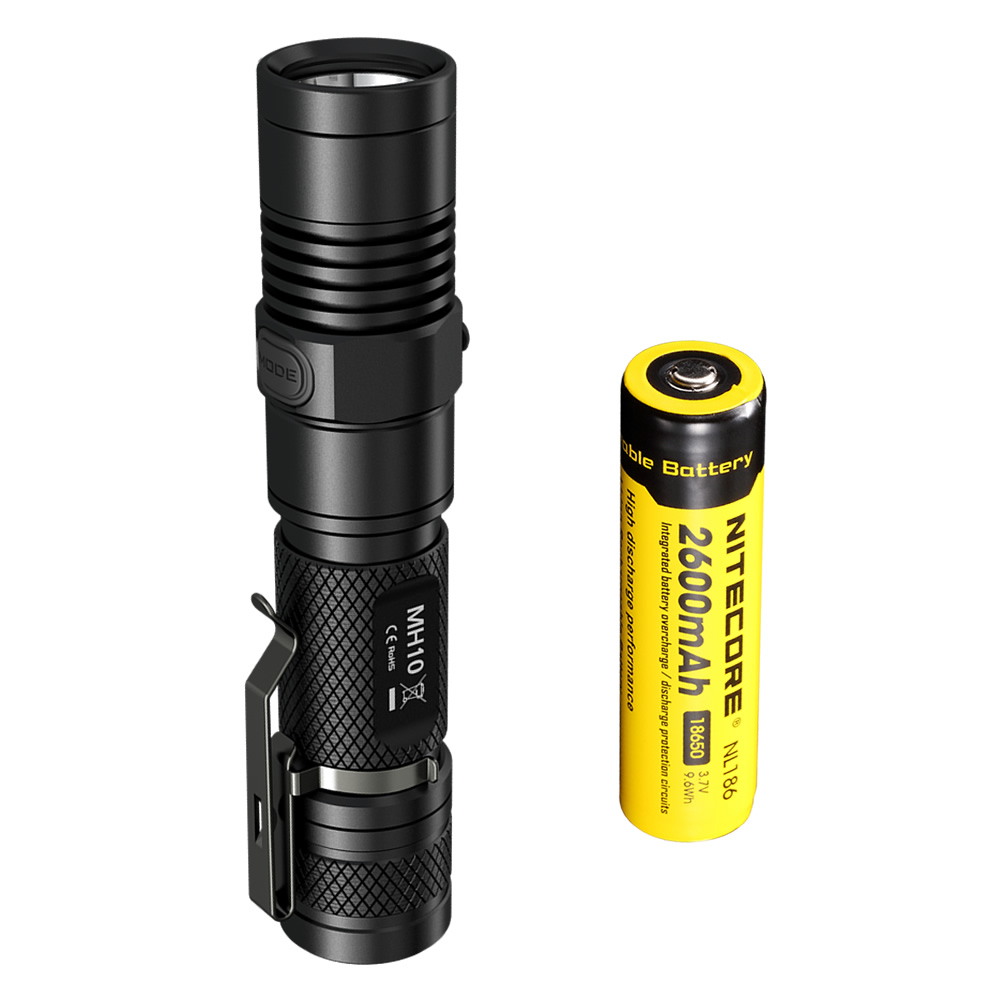 2017NEW NITECORE MH10 1000lm U2 LED Outdoor Portable flashlight rechargeable USB charge With 2600mAh 18650 battery Free shipping 2017 new nitecore p12 tactical flashlight cree xm l2 u2 led 1000lm 18650 outdoor camping pocket edc portable torch free shipping