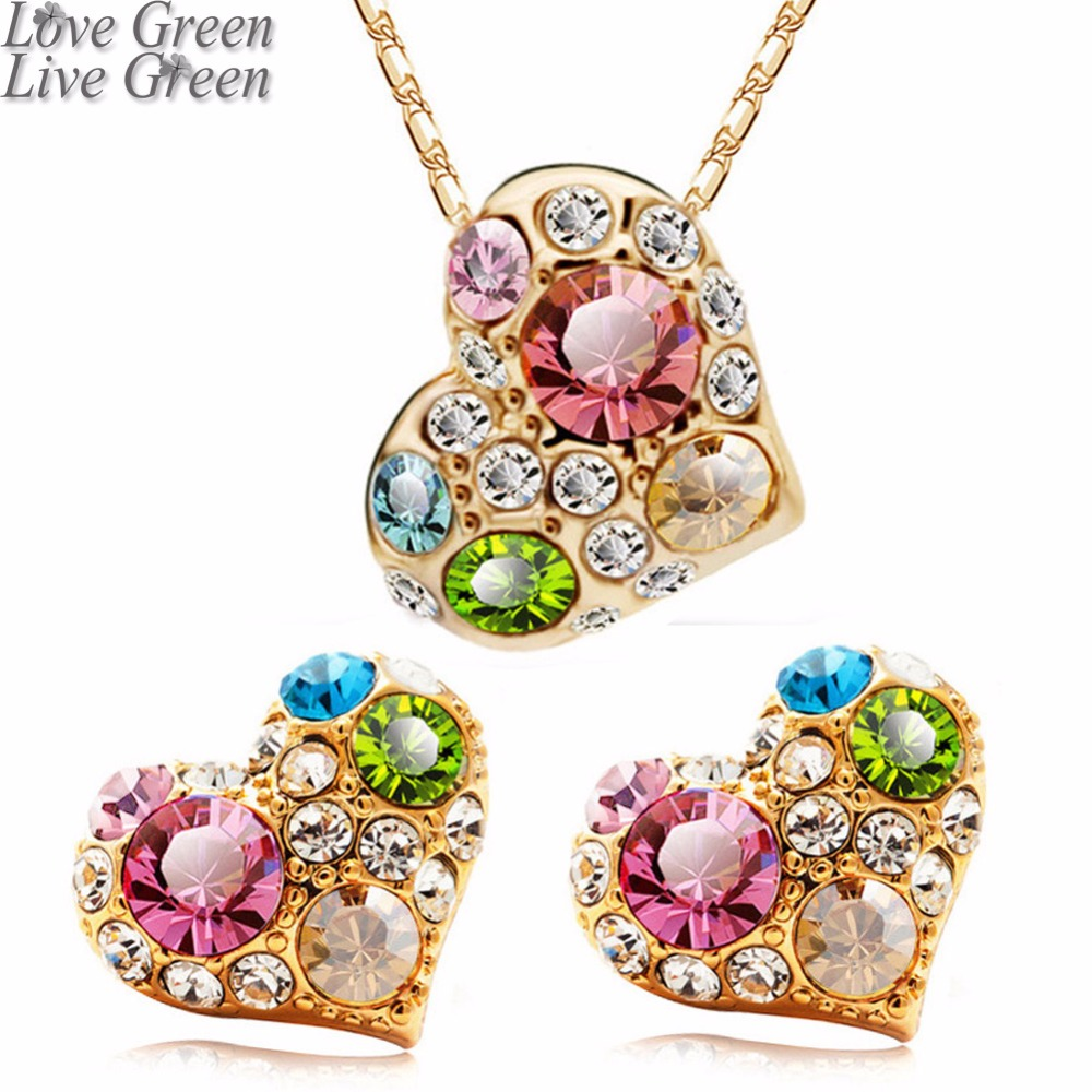 jewelry sets Brand wedding Wholesale gold color Austrian Crystal heart square design Pendant necklace earrings sets 85319