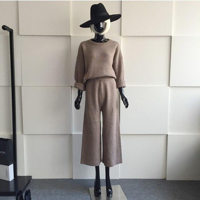 [Soonyour] 2017 Новый осень с длинными рукавами вязание сплошной цвет качество набор женщин костюм моды все матч ASM004