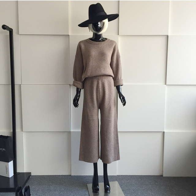 [soonyour] 2017 New autumn autumn  long-sleeved knitting solid color quality set women suit fashion all-match ASM004