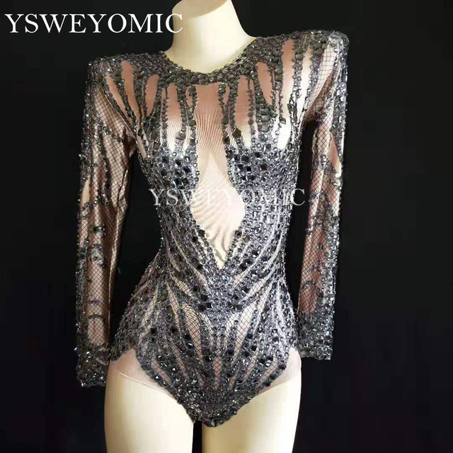 Shinny Black Crystals Nude Bodysuit Performance Outfit Costume Party Celebrate Rhinestones Stretch Leotard Stage Dance Wear Y52