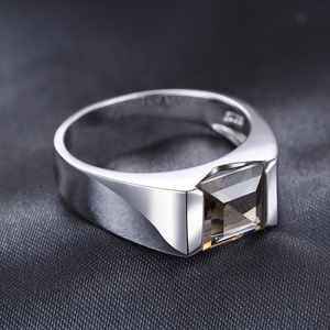 Image 3 - Jewelrypalace Mens Square 2.2ct Genuine Smoky Quartz Wedding Ring 925 Sterling Silver Wedding Ring For Men Fashion Accessories