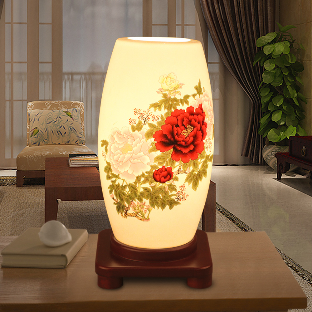 E27 6 10w bedroom reading room ceramic wooden desk lamp japan style e27 6 10w bedroom reading room ceramic wooden desk lamp japan style gathering lotus seeds porcelain table lamp fathers day gift in desk lamps from lights izmirmasajfo