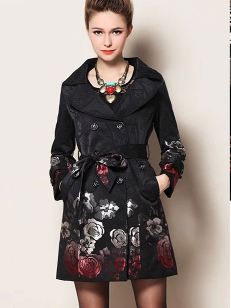 Trench   Coat Double Breasted Print Oversized Gothic Winter Women Clothes 2019 Trend Coat Feminino New Elegant Plus Size Fashion
