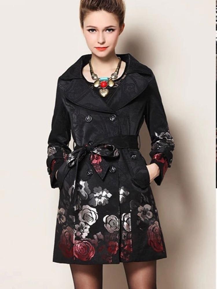 Woman Clothes 2020 Gothic Plus Size Female Trench Coat Print Oversized Winter Long Elegant Europe Fashion British Style