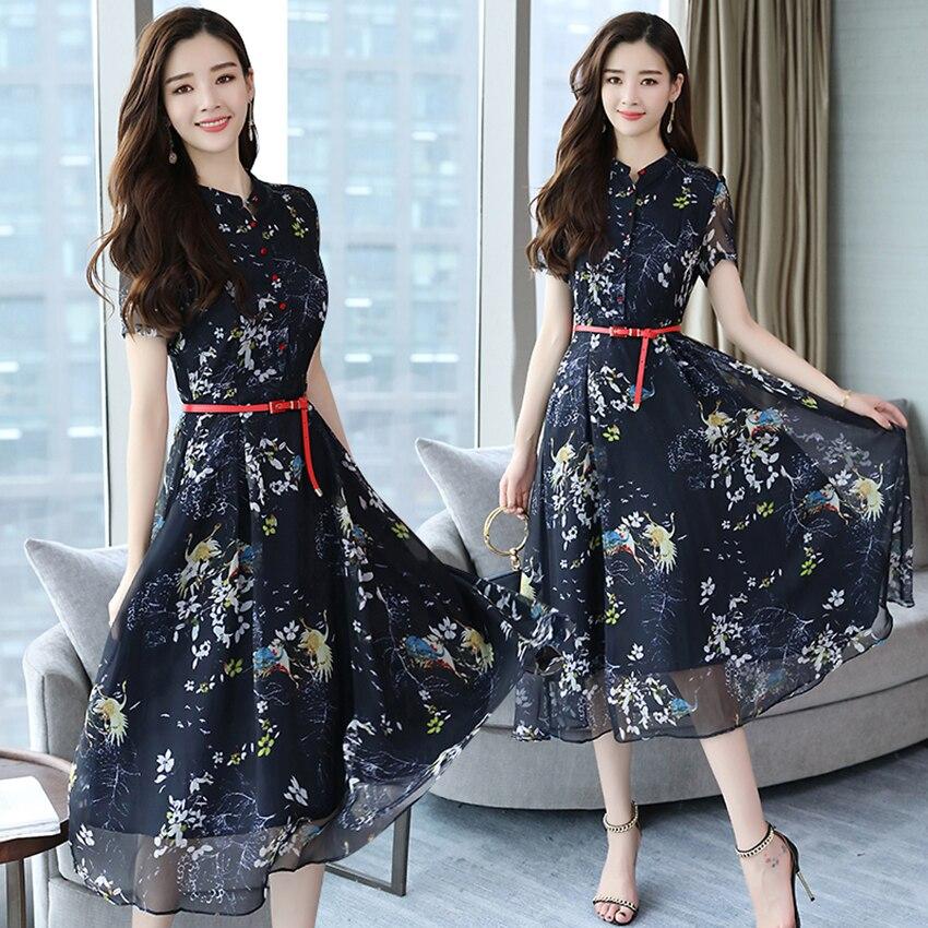 Summer Vintage Chiffon Floral Dress Plus size Maxi sundress Boho 2019 Elegant Women club Midi dresses Party Long Dress Vestidos Рубашка
