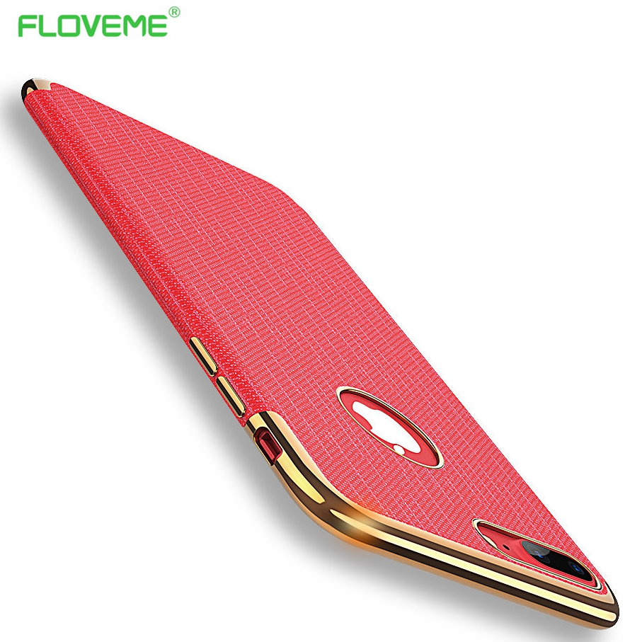 FLOVEME Plating Case For iphone 7/7 plus iphone 7 Case Gold Black Luxury Thin Back Soft Case For Apple iPhone 7 Cover Logo Hole