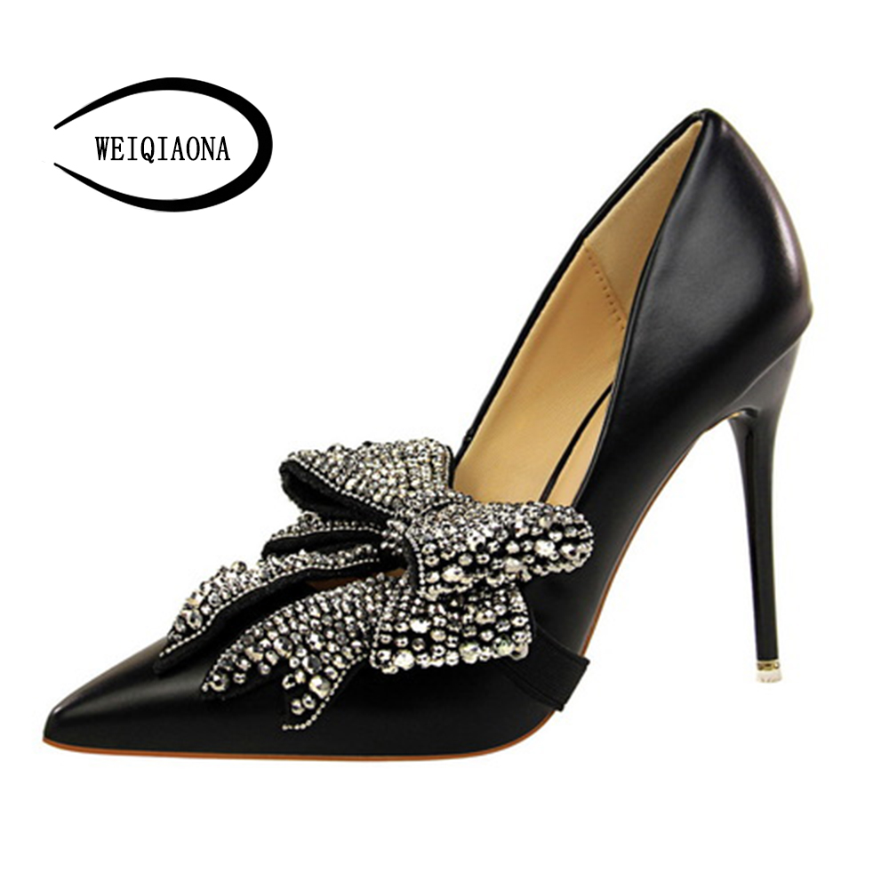 WEIQIAONA 2018 New Summer Womens shoes Casual Sweet Pumps High Heels Pointed with Crystal big bow shoes party wedding shose