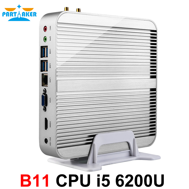 Partaker B11 Fanless Barebone PC Skylake i5 6200U Mini PC Windows 10 4K HTPC Graphics HD
