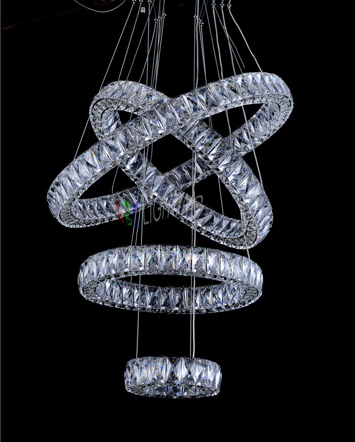 Modern Three Color Temperature LED Crystal Pendant Lights Creative Office Warm Bedroom Crystal Hanging Lamp Lighting