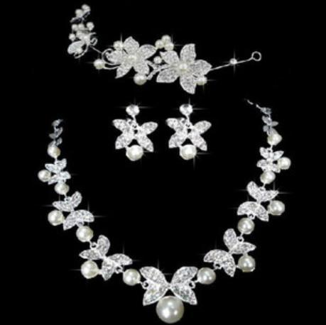 2016 Fashion New Korean imitation pearl three-piece Bridal Jewelry Sets flower wedding Gifts dress Wholesale A089 ABC