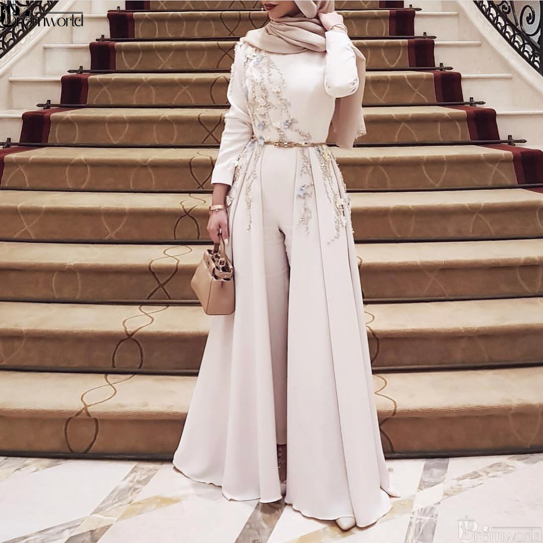 Ivory Long Sleeve Muslim Evening Dress 2019 Embroidery robe soiree Islamic dubai Hijab Evening Gowns Pantsuit Formal Prom Dress-in Evening Dresses from Weddings & Events