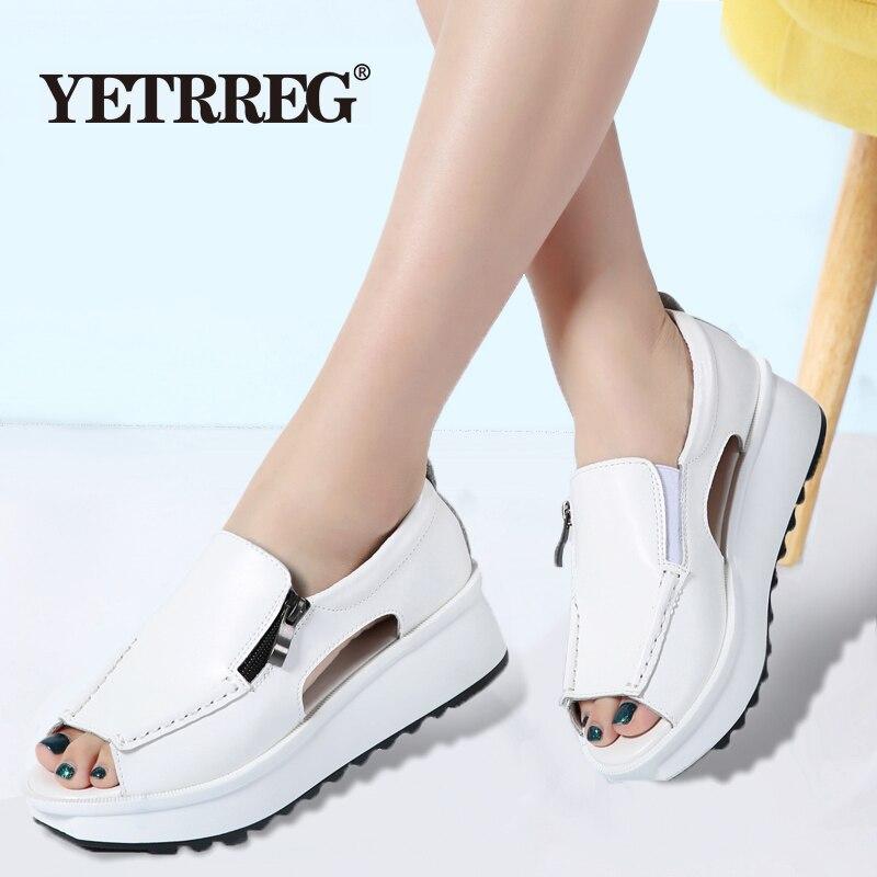 Wedges Sandals Open-Toe Comfortable Zipper Fashion Women Summer Ladies Brand Non-Slip