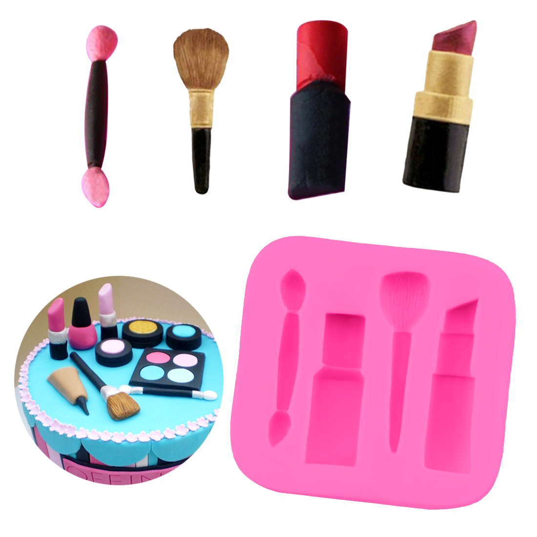 Us 1 19 45 Off Candy Mould 1pc Makeup Lipstick Nail Polish Fondant Molds Cake Decorating Tools Chocolate Soap Mold Cake Stencils Diy Tools In Cake