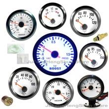 цена на 2 inch 52mm Car Gauge Turbo Boost Gauges Psi Bar Water Temperature Oil Pressure Volt Tachometer Pointer Meter Blue Light 12V
